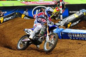 Josh Grant took the holeshot at St. Louis and led the first two laps before losing the lead to Chad Reed and then second to James Stewart on lap three.