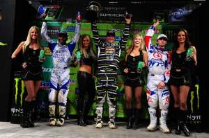 The 450cc podium, with Reed, Stewart and Grant.