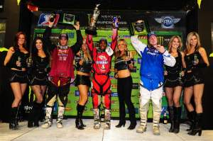 The 450cc podium with Stewart, Reed and Hill.