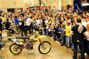 The crowd around Pastrana's Nitro Circus rig was insane. Here, they mob Andy Bell.