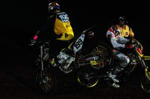 Chad Reed (right) and James Stewart were thoroughly entertained by Pastrana and his antics.