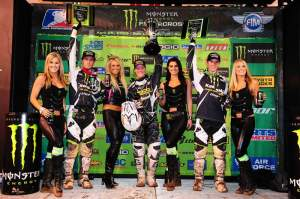 Canard, Weimer and Morais celebrate on the podium.