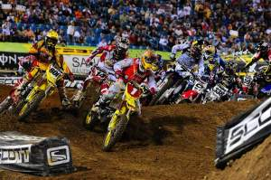Chad Reed (1) grabbed the holeshot to start the event-filled 450cc main event.