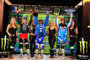 Stewart, Reed and Millsaps celebrate on the podium.