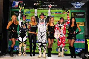 The Lites podium with Dungey, Morais and Canard.