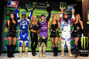 The 450cc podium celebrates with Villopoto, Stewart and Millsaps.