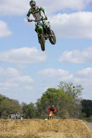 Tim practicing at Chad Reed's house.