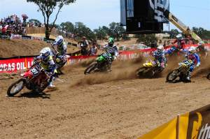 Justin Barcia (151) got the holeshot at the start of the first 250cc moto and led nearly the whole thing, eventually finishing second to Christophe Pourcel (377).