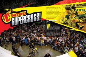 Travis Pastrana made a return to the series at the St. Louis Supercross, where he was also the track designer. Now he makes a return to Racer X to tell us all about it! Page 146.