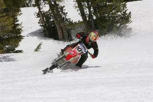 David Pingree snow-motoing. Snowtoing?