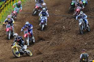Chad Reed (22) got the holeshot for the first time this year. He did it in the first 450 moto.