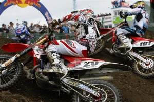 Clement Desalle (25) and Mickael Pichon (101) battle it out. Desalle was sixth overall. Pichon was eighth.