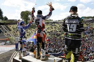 Nagl, Philippaerts and Cairoli celebrate on the Ernee podium.