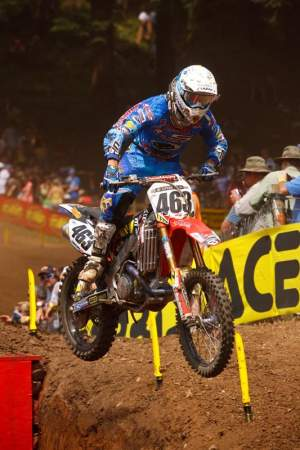Clement Desalle was great in the first moto on a stock motored CRF. He was on the move in the second moto before crashing as well. Can we do something about that nickname? MX Panda? Really?