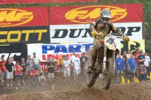 Ricky Carmichael lapped the field in the second muddy moto of 2006...