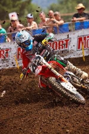 Jake Moss went out and got some in the first moto this weekend. Then Kyle Summers went over on him up Horsepower Hill in the second moto and Moss got some stuff he didn't like so much.
