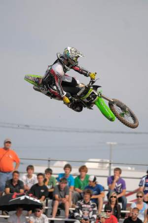 Mitch Cooke is the man at Moncton and he didn't let the fans down with big whips like this all day. Mitch is a privateer this year and loving it although when Kawasaki cut contingency, he didn't really love that.