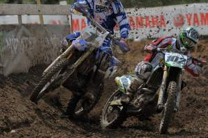 In the first moto Facciotti and Kiniry were this close sometimes before Colton pulled away for the win.