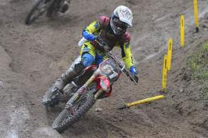 Wharton led for a bit, eventually finishing third in the first moto.