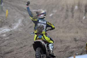 Barcia celebrates his first-ever moto victory at Southwick.