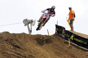 Davi Millsaps won a very exciting first moto after Chad Reed closed a huge gap that he had opened up.