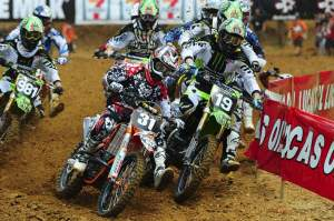 Ryan Sipes snagged the first 250 holeshot before quickly being overtaken by Jake Weimer.