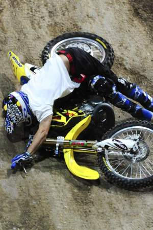 ...ended with him on the ground in a heap. He was the third of three riders who didn't attempt a second run.