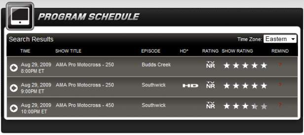 Speed TV Motocross Schedule