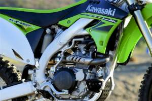 The heart of the beast: The new KX450F engine is powerful, versatile and forgiving.