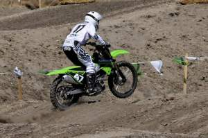 Jeff Emig rides the new bike at Castillo Ranch.