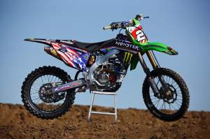 Jake Weimer's Monster Energy Pro Circuit Kawasaki in Team USA livery.