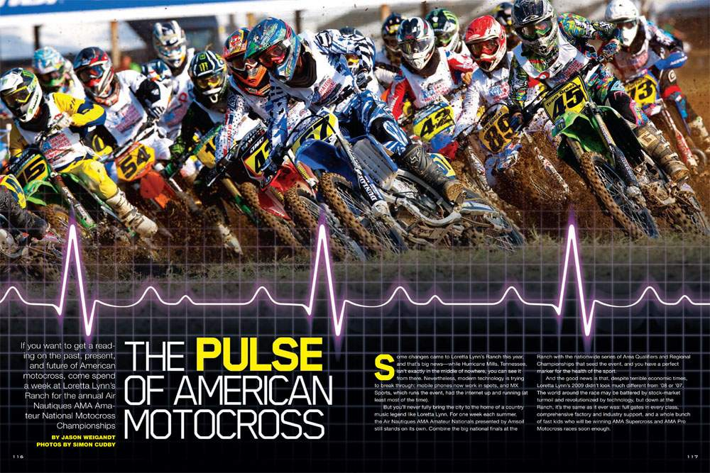 For one late-summer week in each of the last twenty-eight years, Loretta Lynn's Ranch in Hurricane Mills, Tennessee, has become the capital of American motocross. Jason Weigandt checks its current pulse. Page 116.