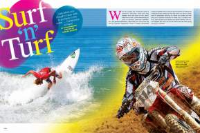 Teaming surfers with motocrossers to compete in each others' disciplines, Surfercross has been attracting dirt bike and wave riders for a decade. A regular competitor, David Pingree files his '09 report. Page 156.