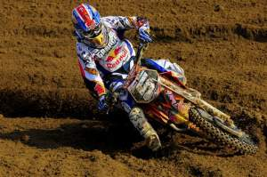 Once again, Marvin Musquin was the top MX2 rider, finishing fifth in the moto.