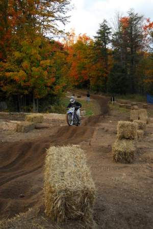 Riders were able to bypass this tricky sand and log section by taking the long way around.