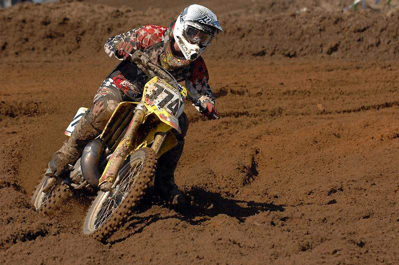 Robby Marshall won the 250 Pro/Expert class aboard his RM250.