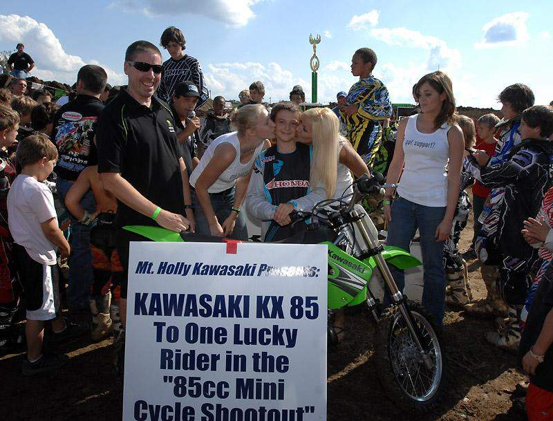 After winning the Mini Shootout, Cooper Webb won a random drawing for a new KX85.