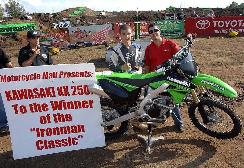Jason Brooks was awarded a new KX250F for winning the Iron Man Classic.