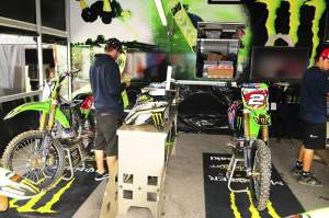 Weimer and Rattray's bikes sat under the same Pro Circuit awning.
