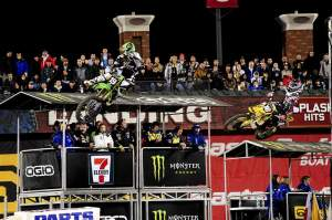 In Supercross, Weimer and Ryan Dungey were this close for much of the season.