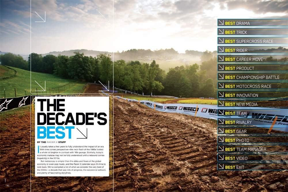 We review the very best of the last ten years in the world of motocross. Page 142.