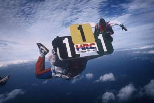 What do you do if you've just won all three world titles and you're on top of the world? You skydive with your plates! That's what Eric Geboers did.