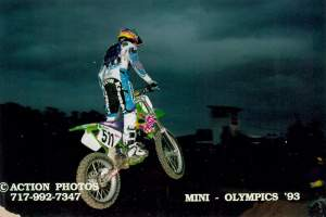 Kevin Windham stretches out his Team Green KX125, circa 1993.