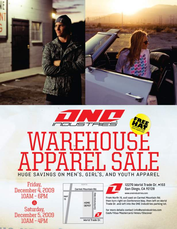 ONE Industries Warehouse Sale Flyer