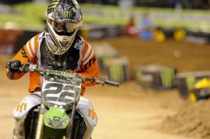 Chad Reed pulled out holding his left hand, which was broken in the fall with James Stewart.