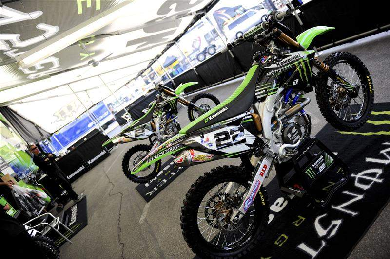 Chad Reed's #22 and Ryan Villopoto's #2 factory Monster Energy Kawasaki KX450Fs.
