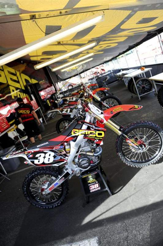 Trey Canard's GEICO Powersports Honda CRF250R. He calls it his