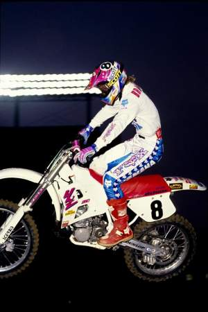 Damon Bradshaw (pictured, in 1990) and Jeremy McGrath are the only two riders who have won the main event after having to race every race that night.