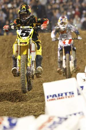Ryan Dungey (5) held the lead over Stewart for much of the race.