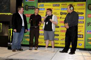 Terry Boyd (left) receiving the Mickey Thompson Lifetime Achievement Award.